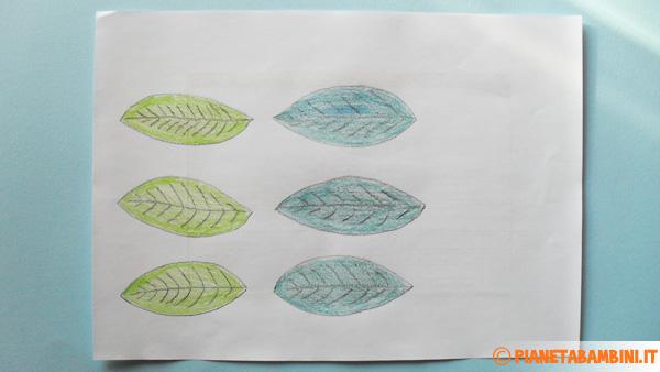 Colorazione delle foglie per la creazione dei fiori di carta
