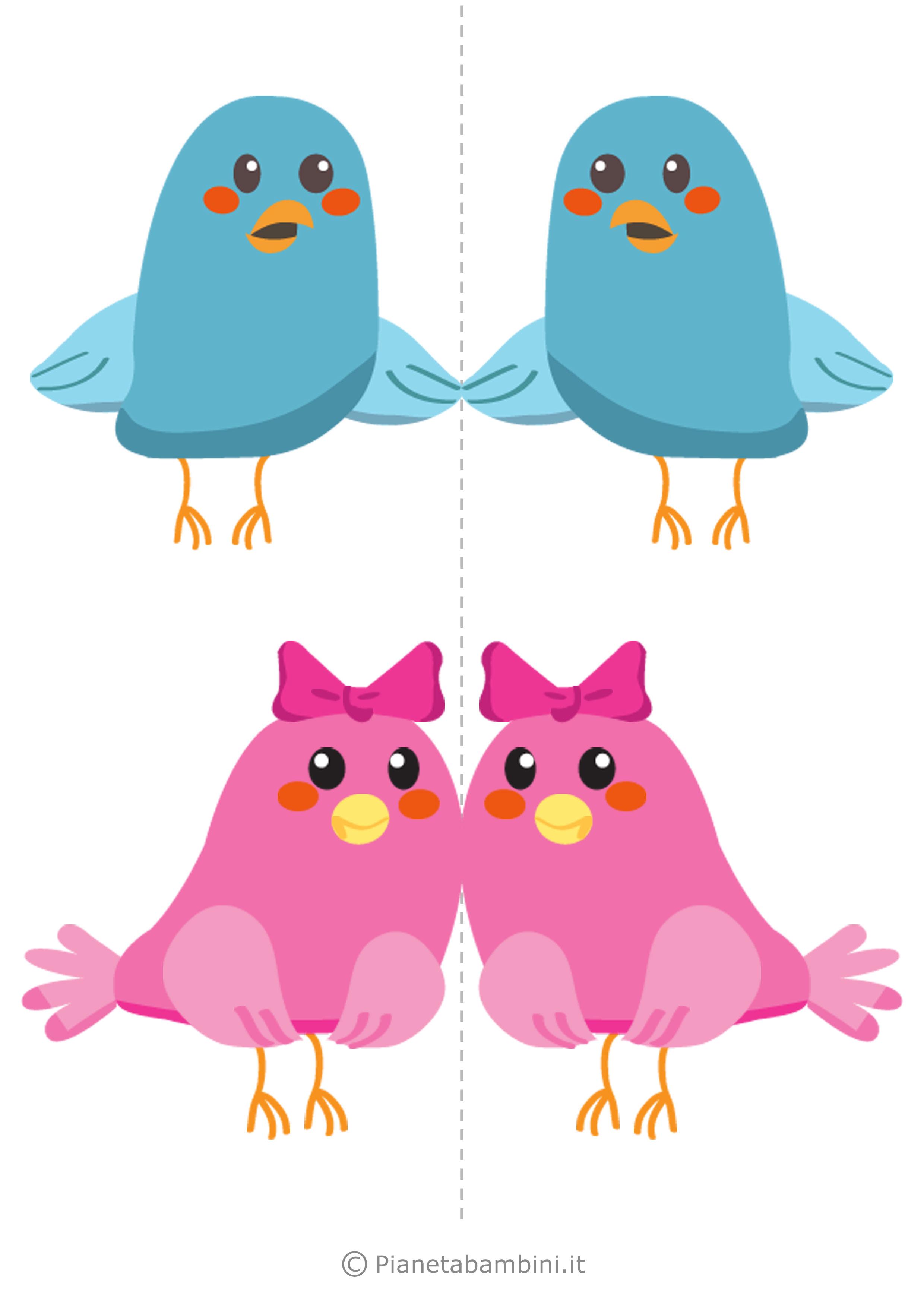 Uccelli colorati da stampare 01