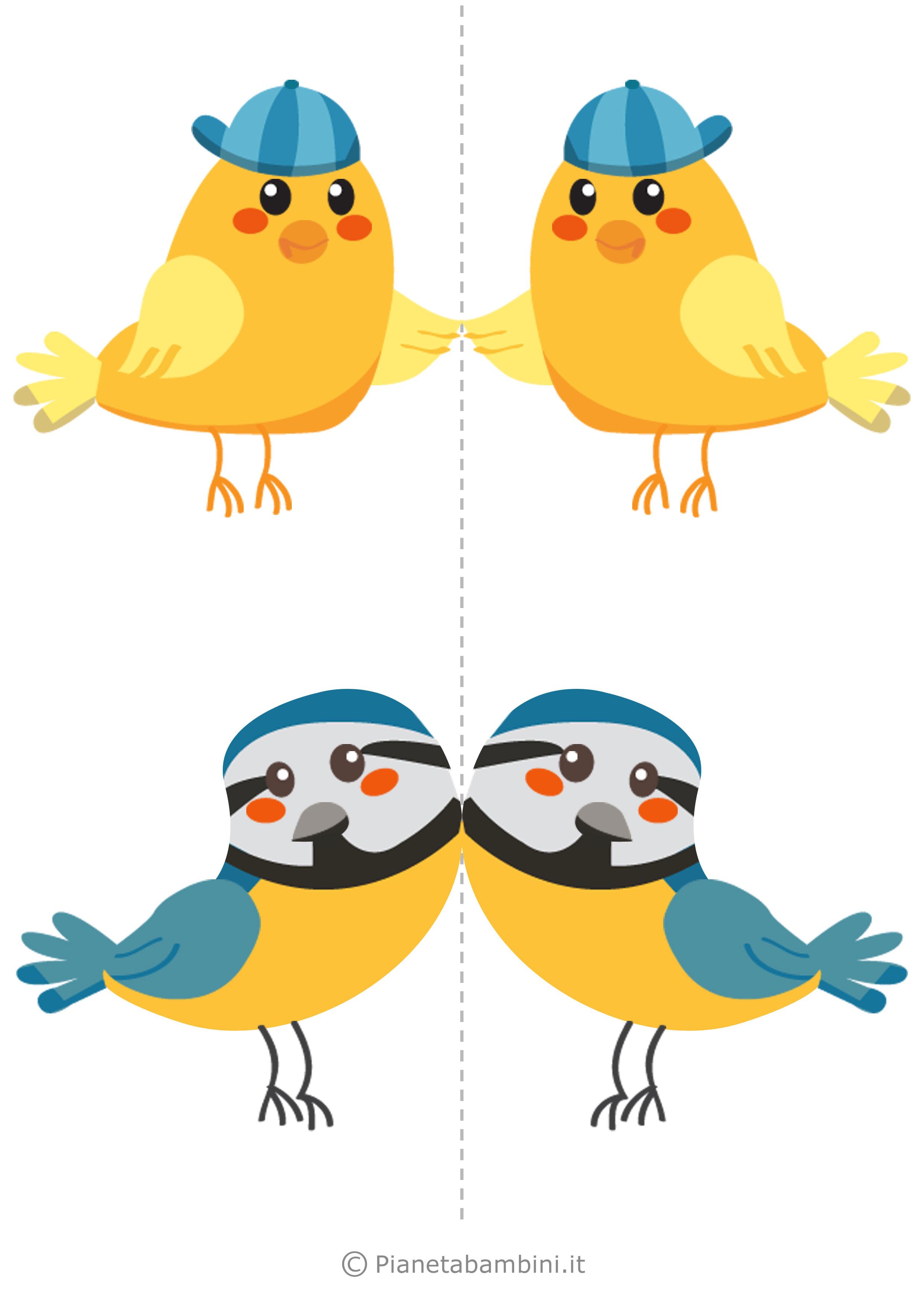 Uccelli colorati da stampare e ritagliare per decorazioni for Pesciolini da colorare per bambini