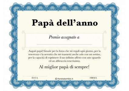 Immagine del diploma per la festa del papà n.1
