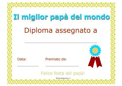 Immagine del diploma per la festa del papà n.2