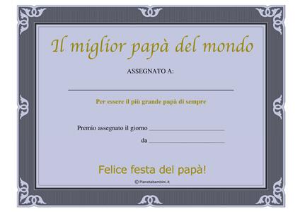 Immagine del diploma per la festa del papà n.3