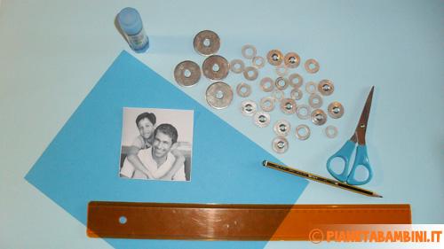 Materiale necessario per creare la cornice con le rondelle