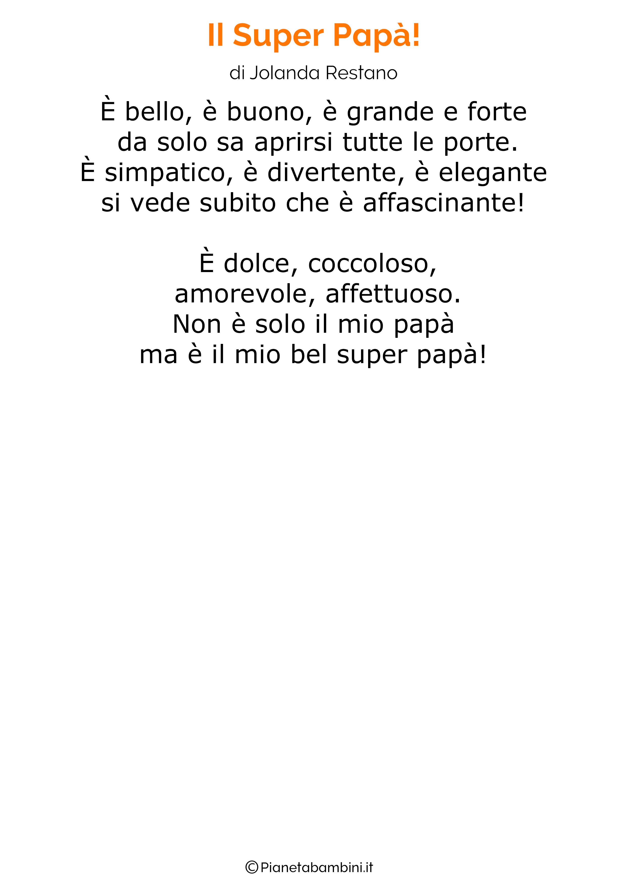 Poesia per la festa del papa per bambini 14