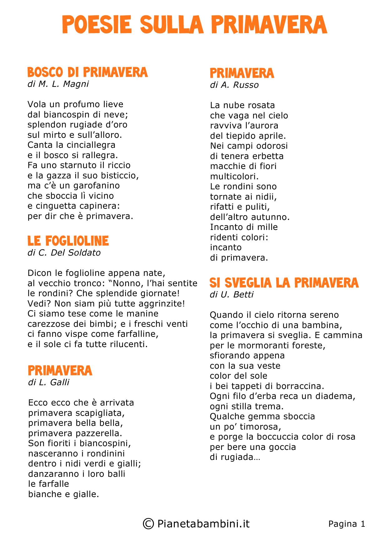 Ben noto Poesie sulla Primavera per Bambini della Scuola Primaria  JU78