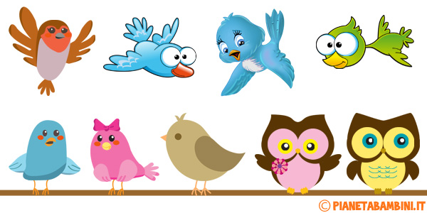 Uccelli colorati da stampare per decorazioni e lavoretti
