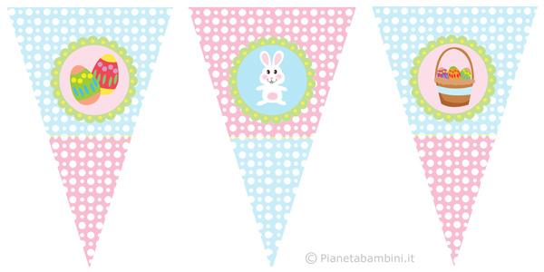 Bandierine triangolari di Pasqua per decorazioni da stampare