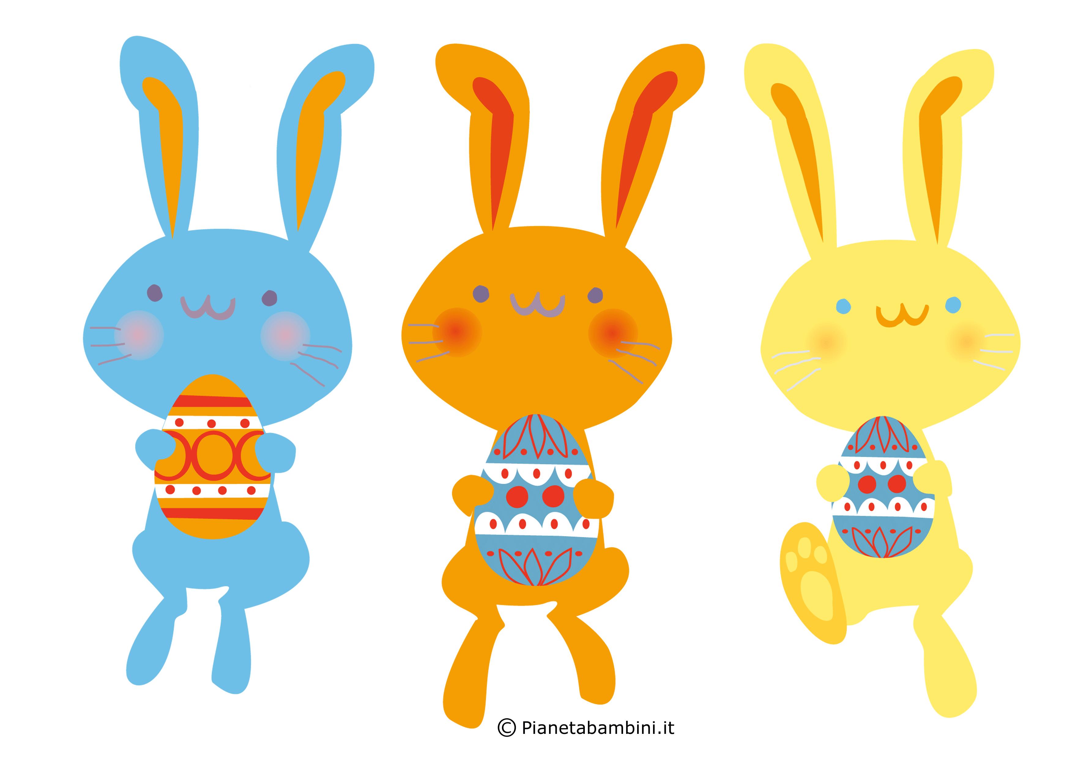 Conigli pasquali colorati da stampare 1
