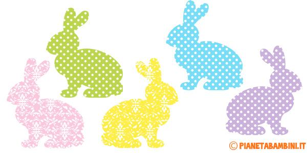 Coniglietti pasquali di varie fantasie da ritagliare