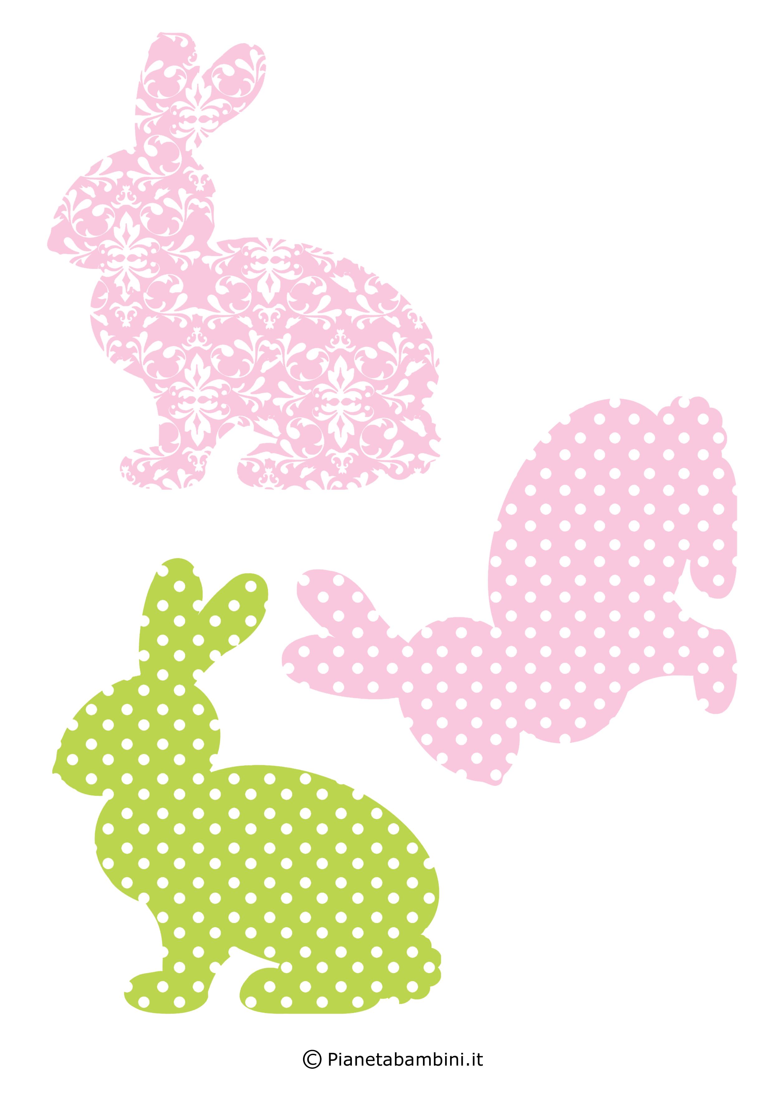 Coniglietti pasquali fantasia da stampare 8