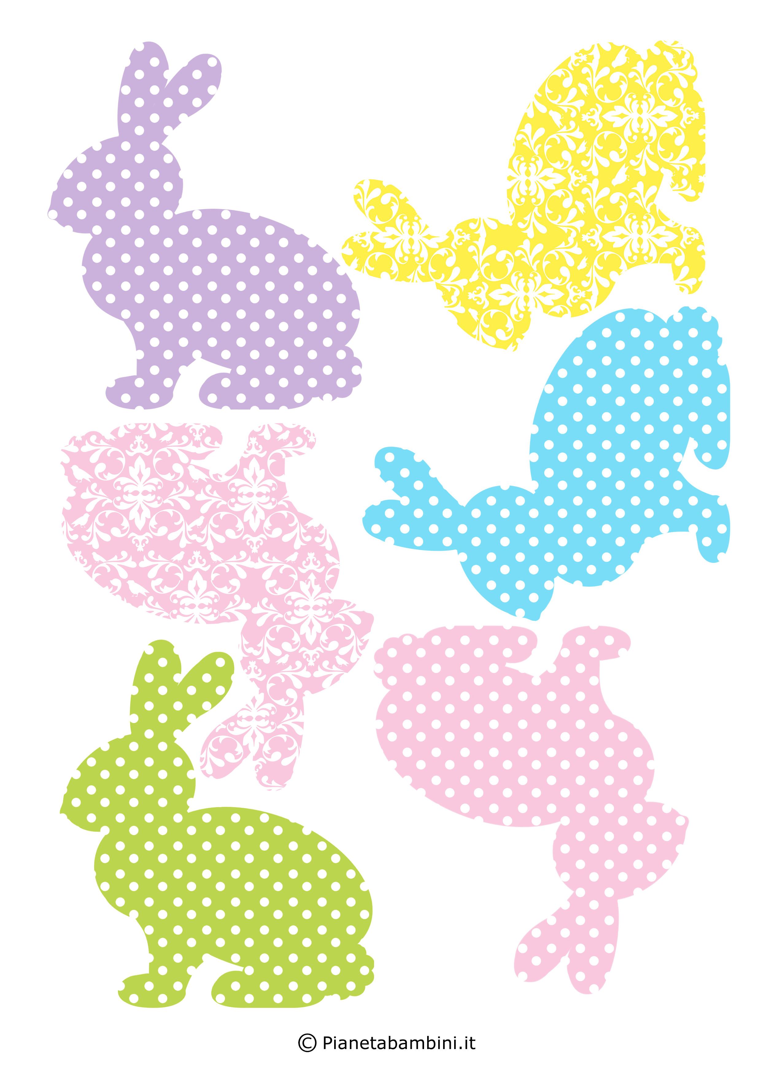 Coniglietti pasquali fantasia da stampare 9