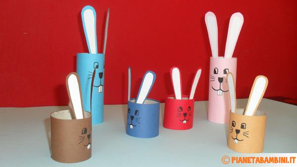 Coniglietti multicolore da creare con i rotoli di carta igienica