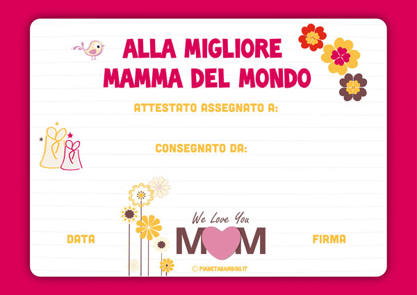 Immagine del diploma per la festa della mamma n. 4