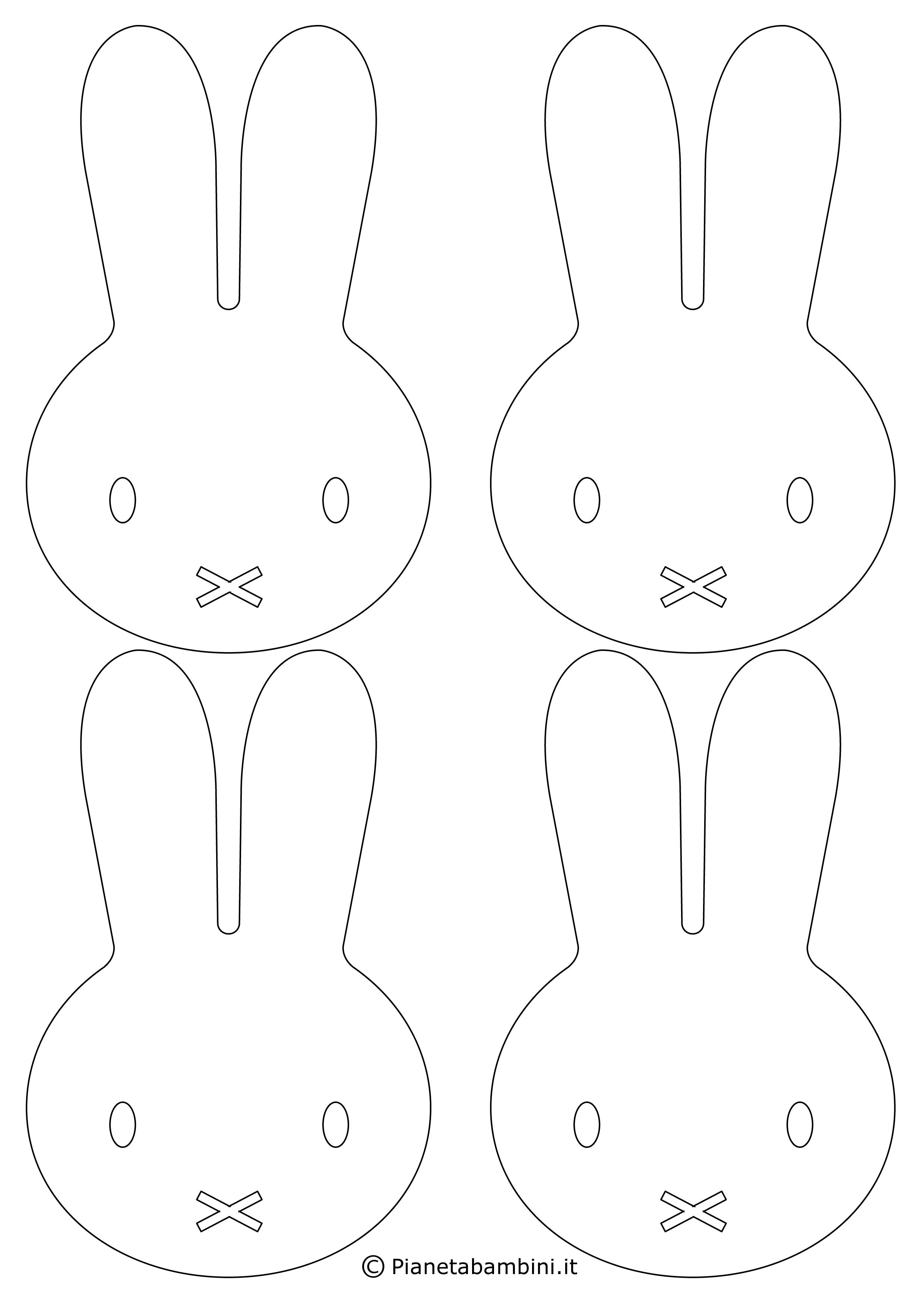 Facce di coniglietti pasquali in bianco e nero da stampare