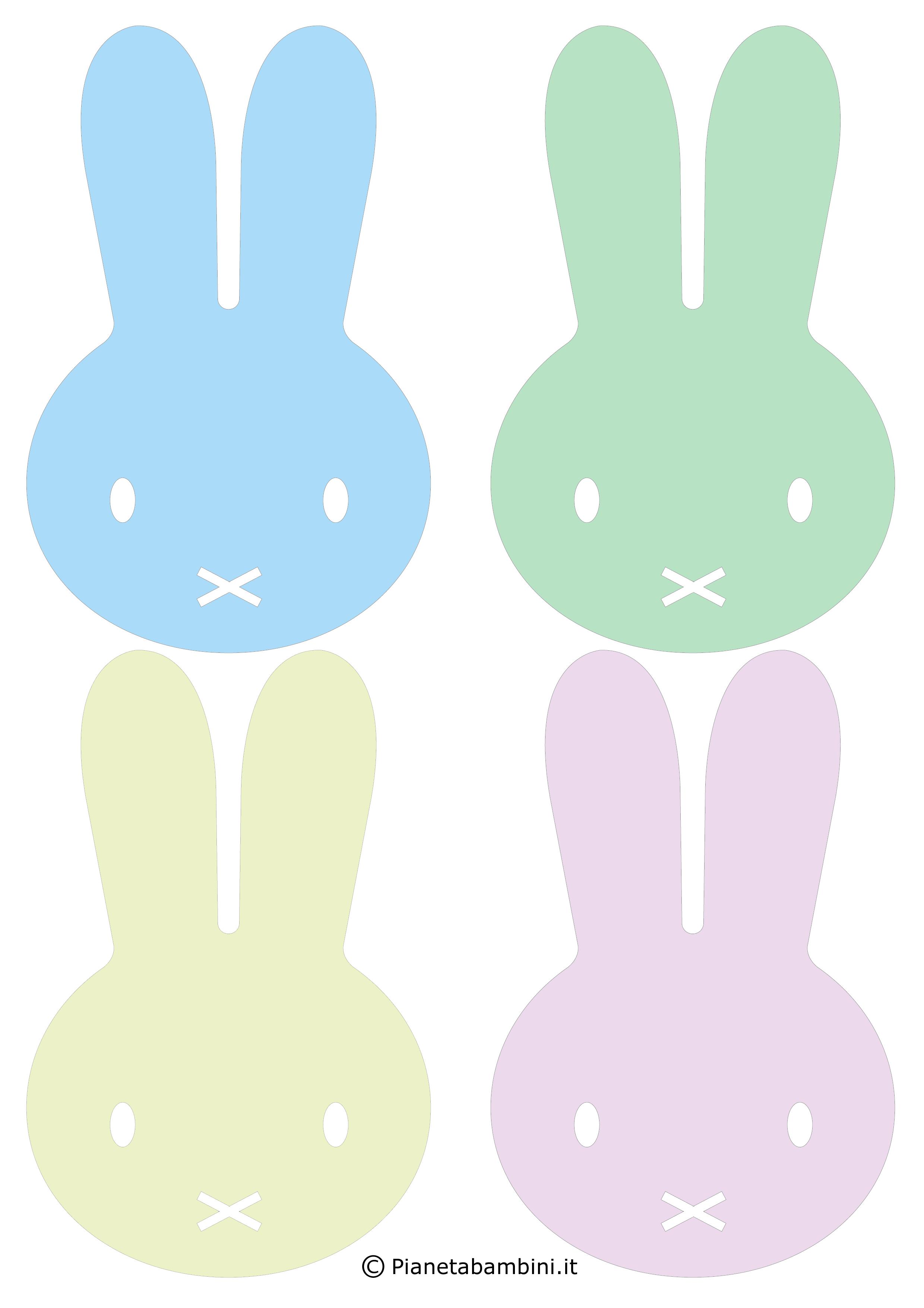 Facce di coniglietti pasquali colorate da stampare