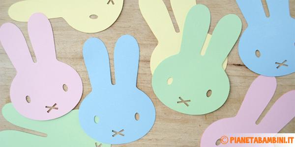 Facce di coniglietti pasquali da ritagliare