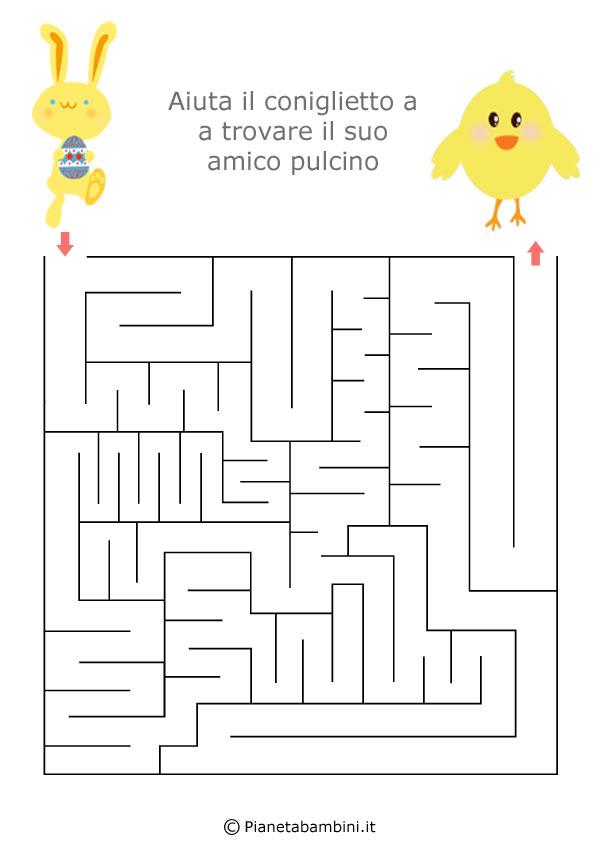 Labirinti per bambini dedicati alla pasqua da stampare