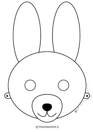 Immagine della maschera da coniglio da colorare