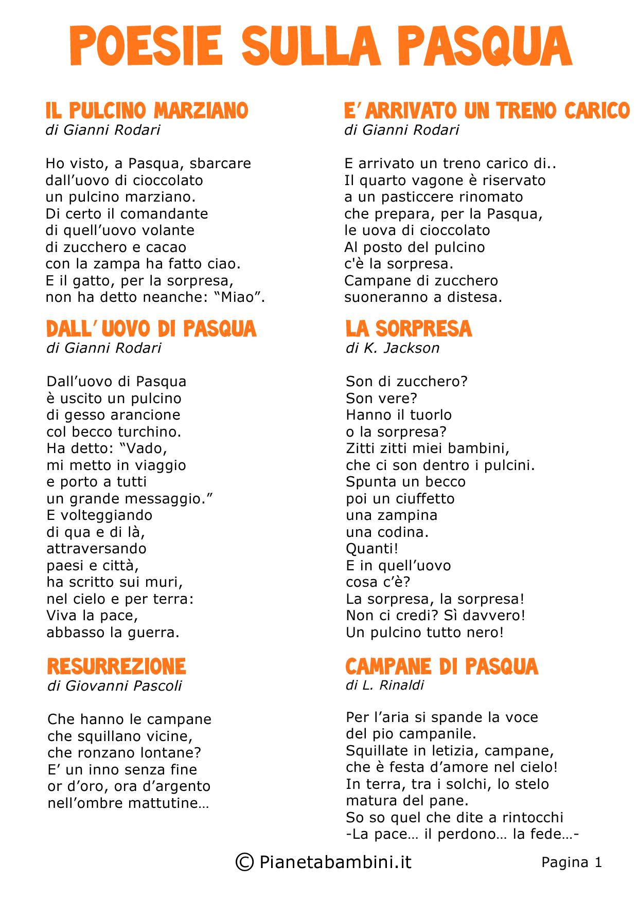 Conosciuto Poesie di Pasqua per Bambini della Scuola Primaria | PianetaBambini.it SH12