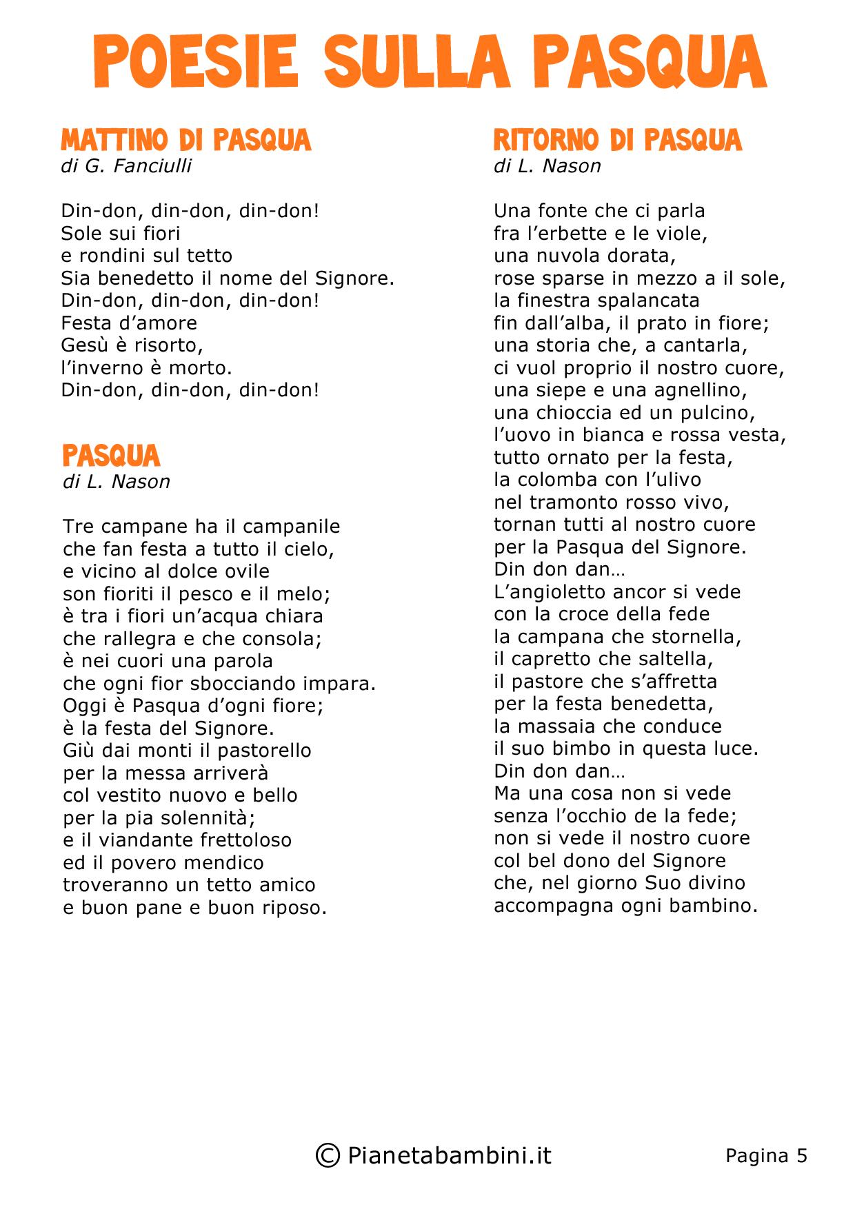 Amato Poesie di Pasqua per Bambini della Scuola Primaria | PianetaBambini.it UZ59