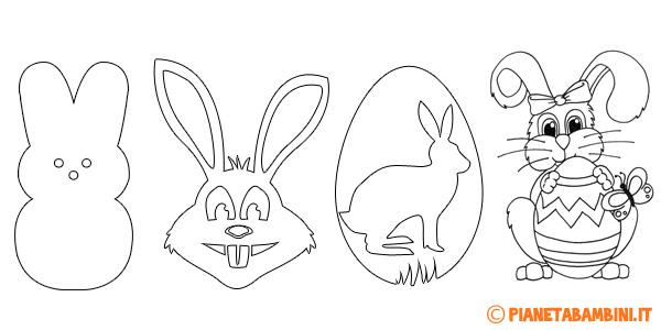 Sagome di coniglietti pasquali da colorare