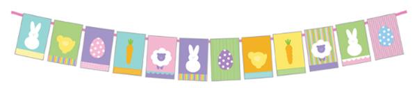Striscione con simpatiche immagini di Pasqua da stampare