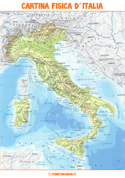 Cartina fisica d'Italia da stampare
