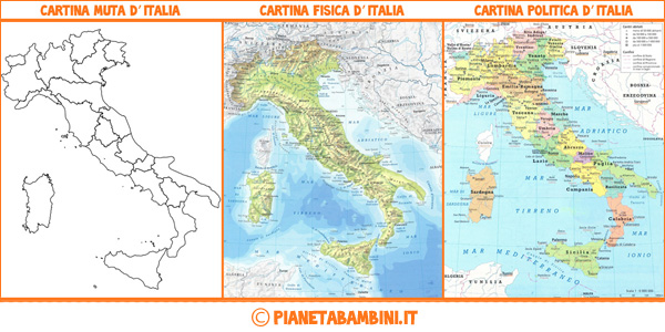 Cartina Italia Divisa In Regioni Da Stampare.Cartina Muta Fisica E Politica Dell Italia Da Stampare Pianetabambini It