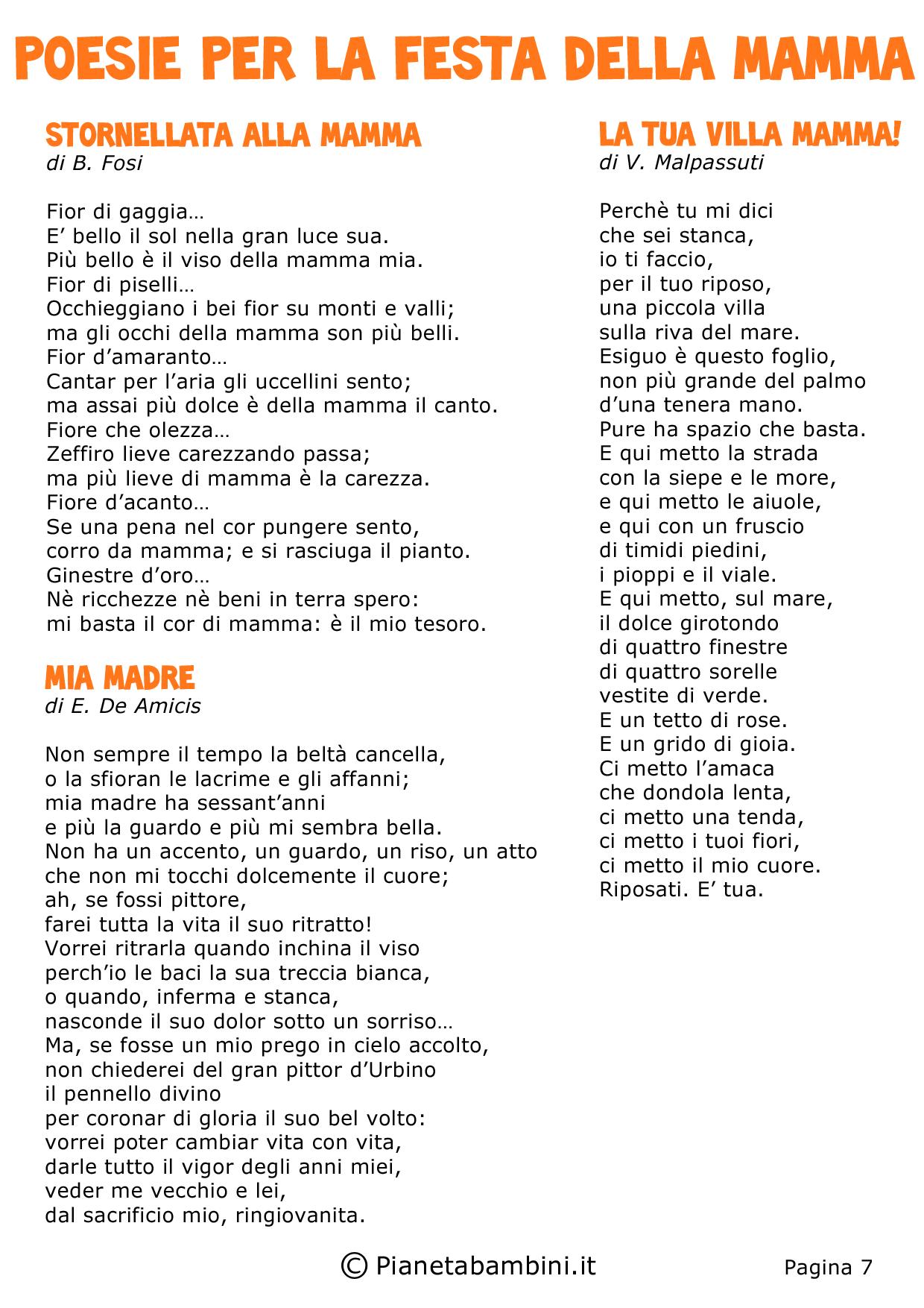 Poesie per la festa della mamma bambini