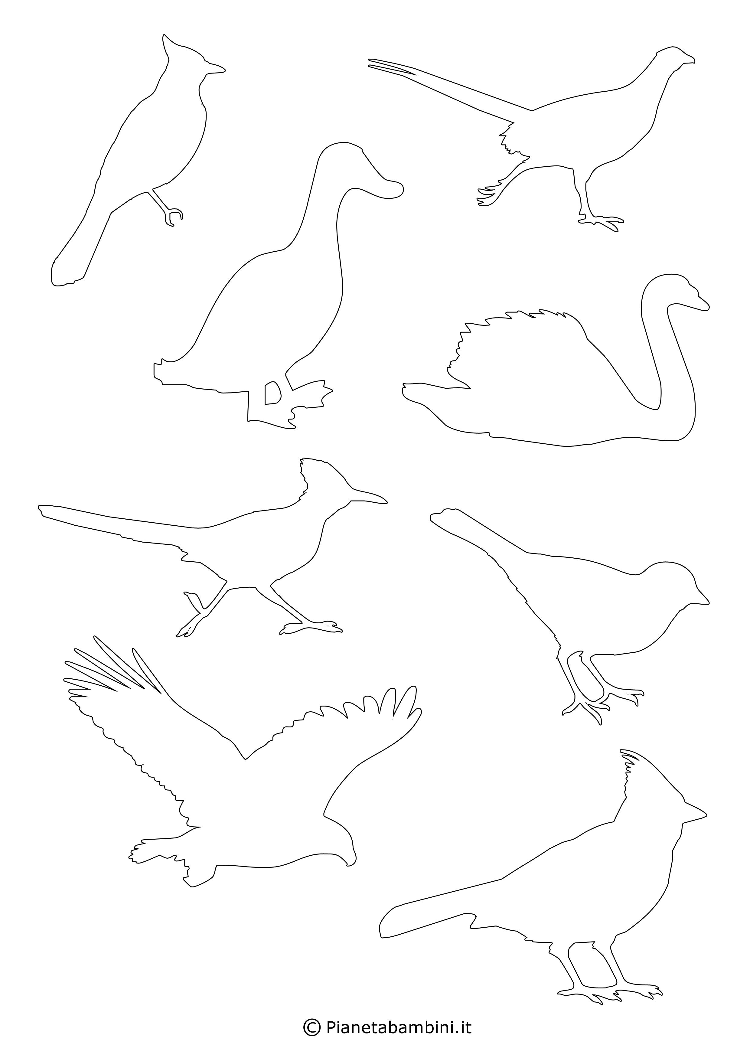 Sagome di uccelli da colorare e ritagliare per bambini for Pesci da disegnare per bambini