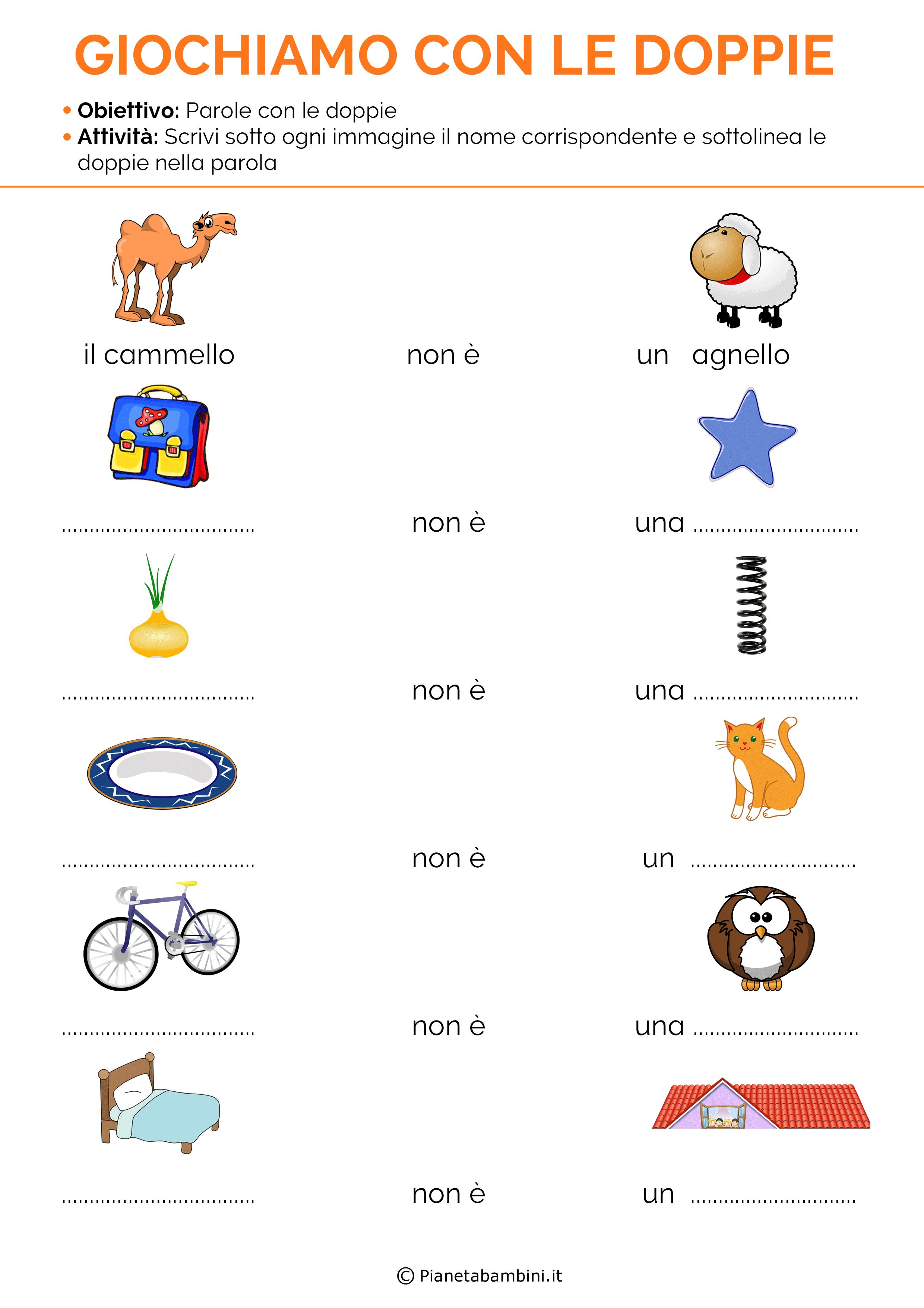 Schede didattiche sulle doppie con esercizi da stampare for Parole con mp per bambini