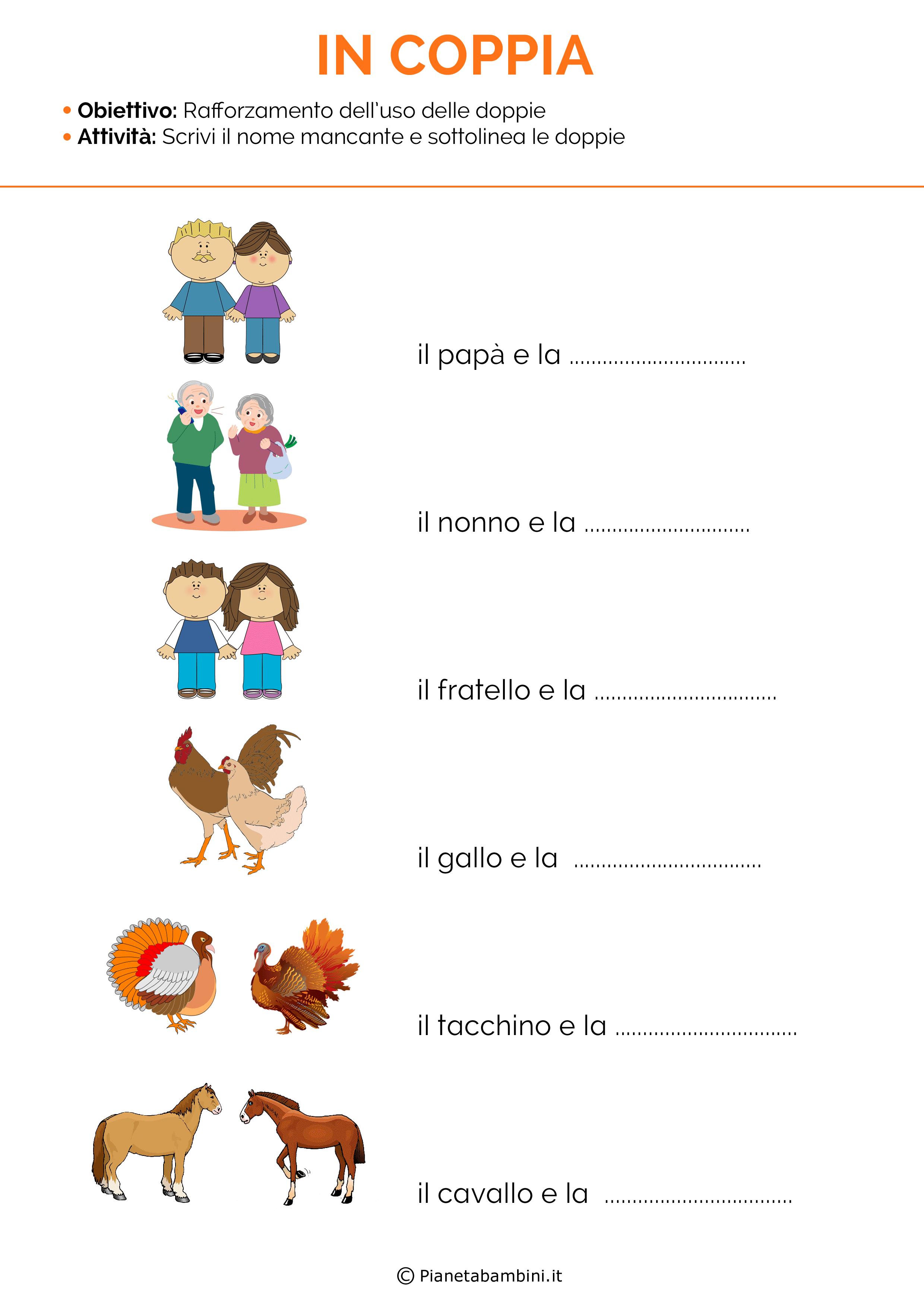 Schede didattiche sulle consonanti doppie 2