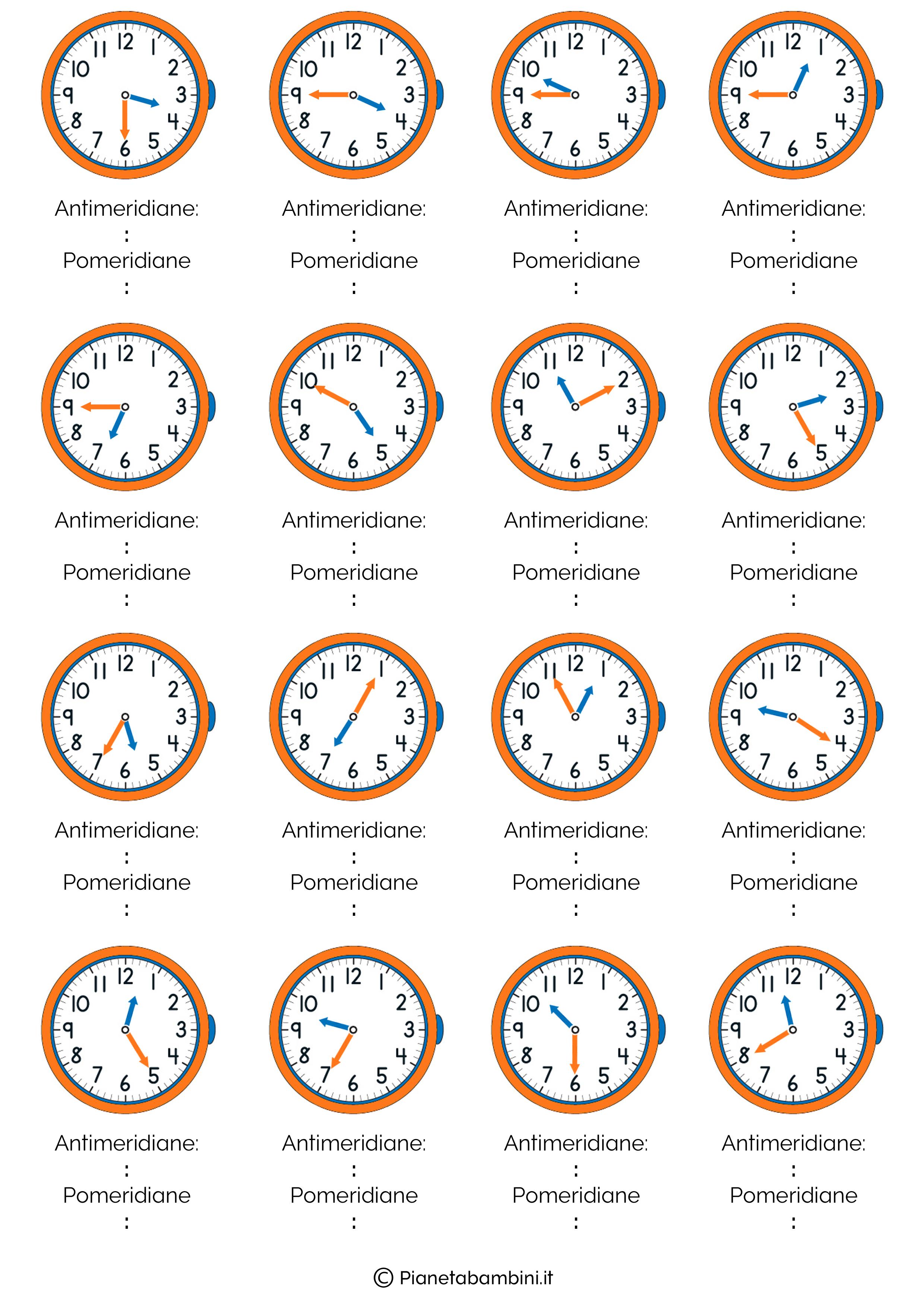Favoloso Imparare a Leggere l'Orologio: Schede Didattiche ed Esercizi  RM79