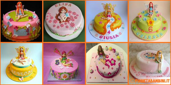 Torte delle Winx con decorazioni in pasta di zucchero