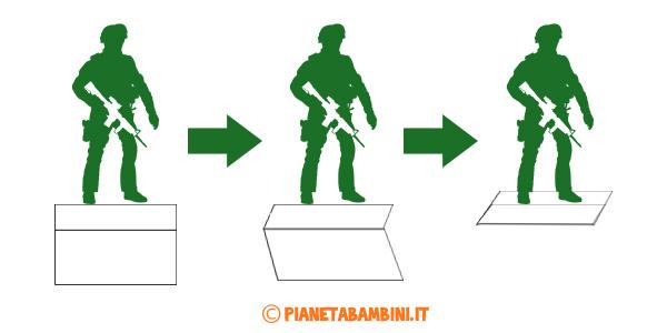 Come piegare la base dei soldatini di carta