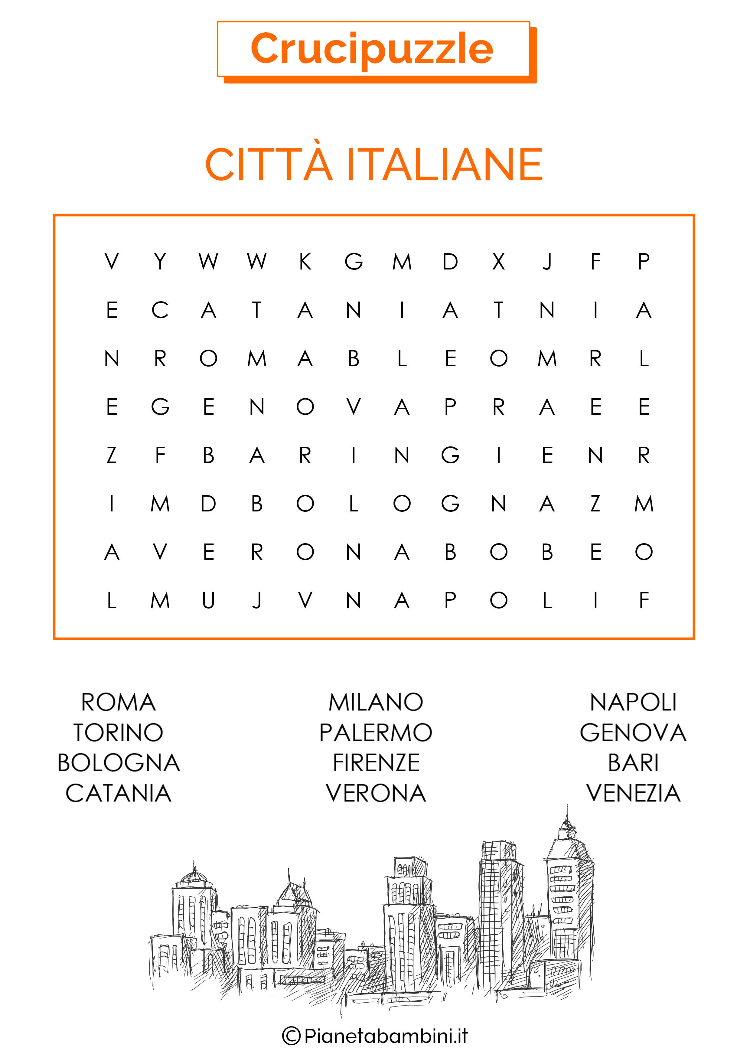 Crucipuzzle facile sulle città italiane