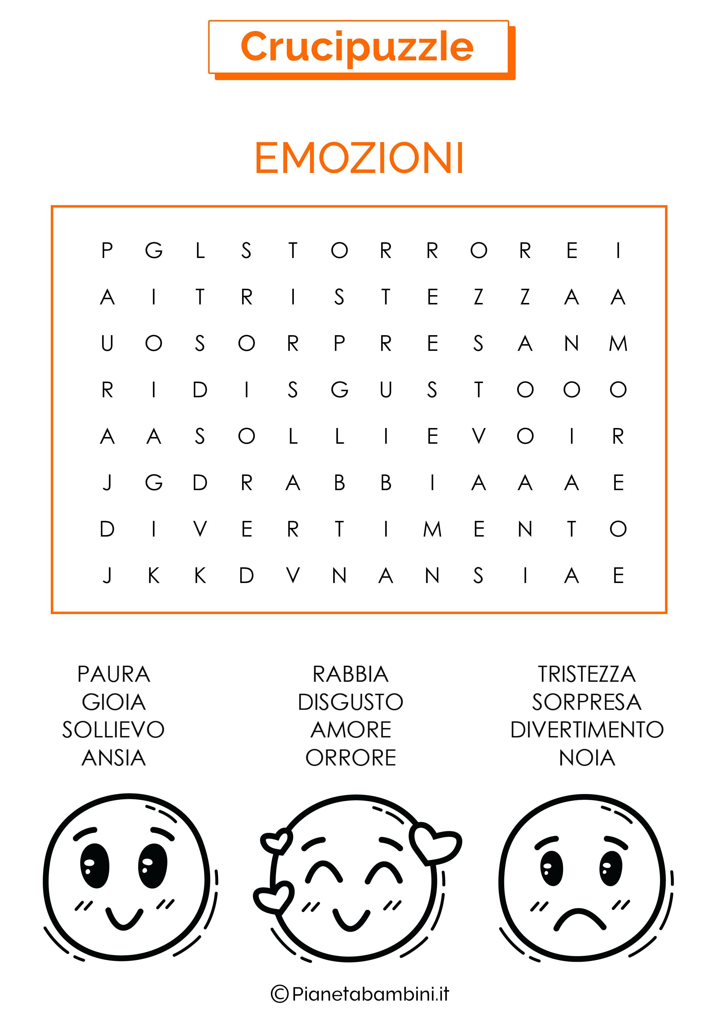 Crucipuzzle facile sulle emozioni
