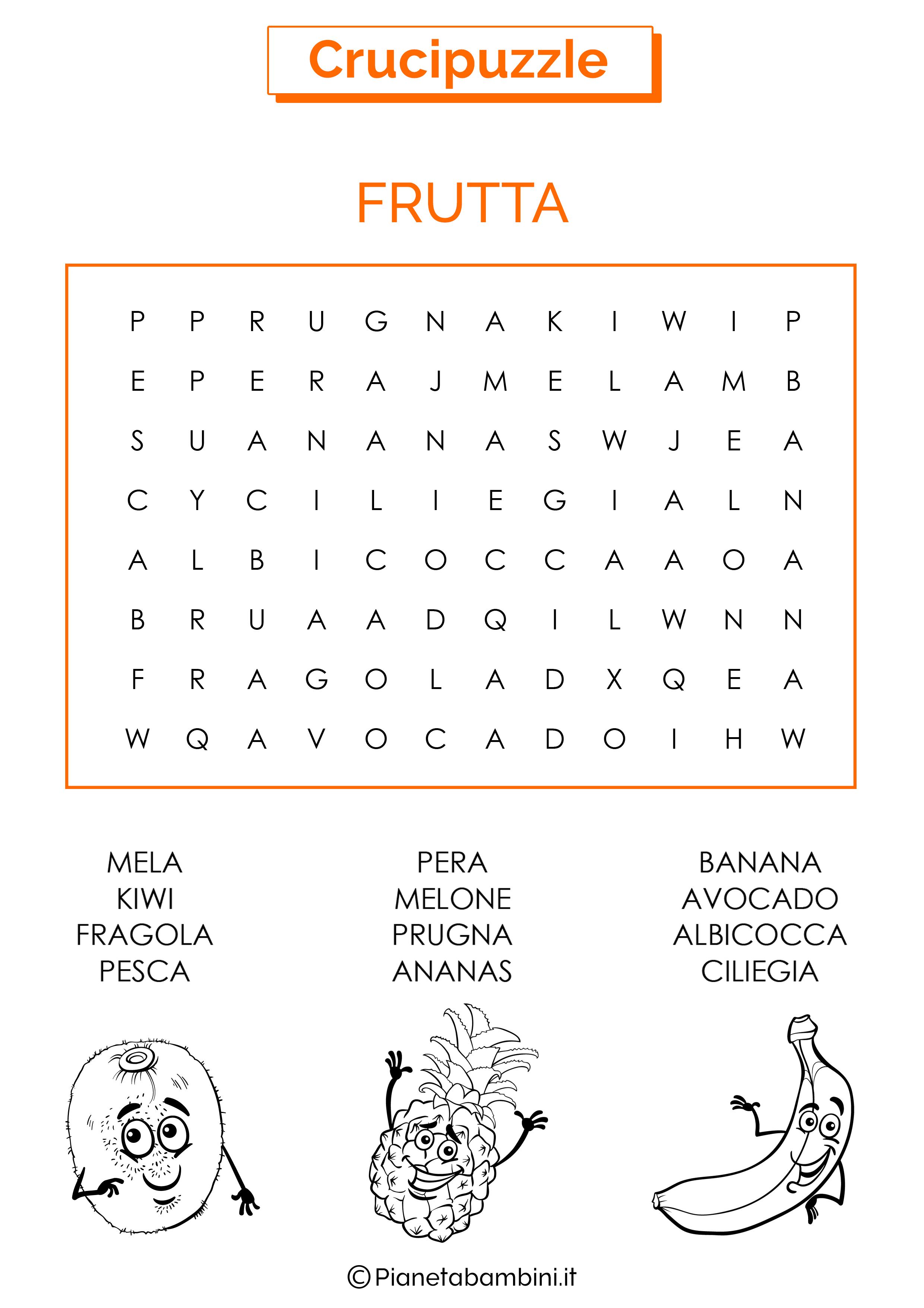 Crucipuzzle facile sulla frutta