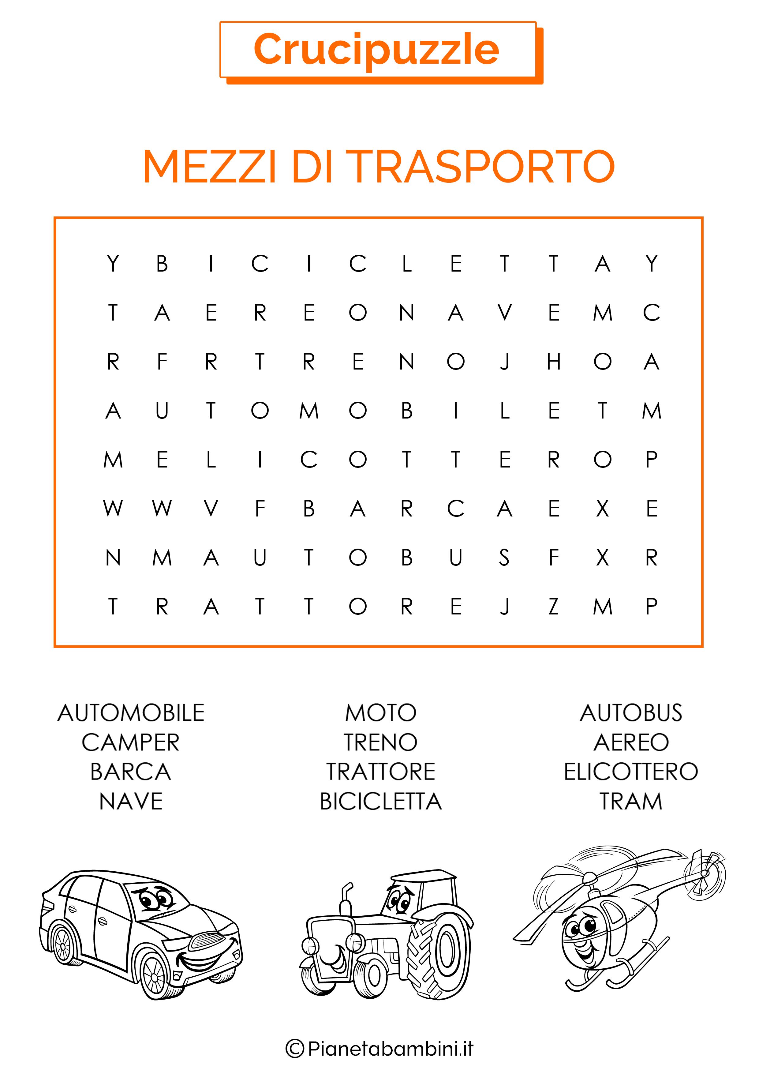 Crucipuzzle facile sui mezzi di trasporto