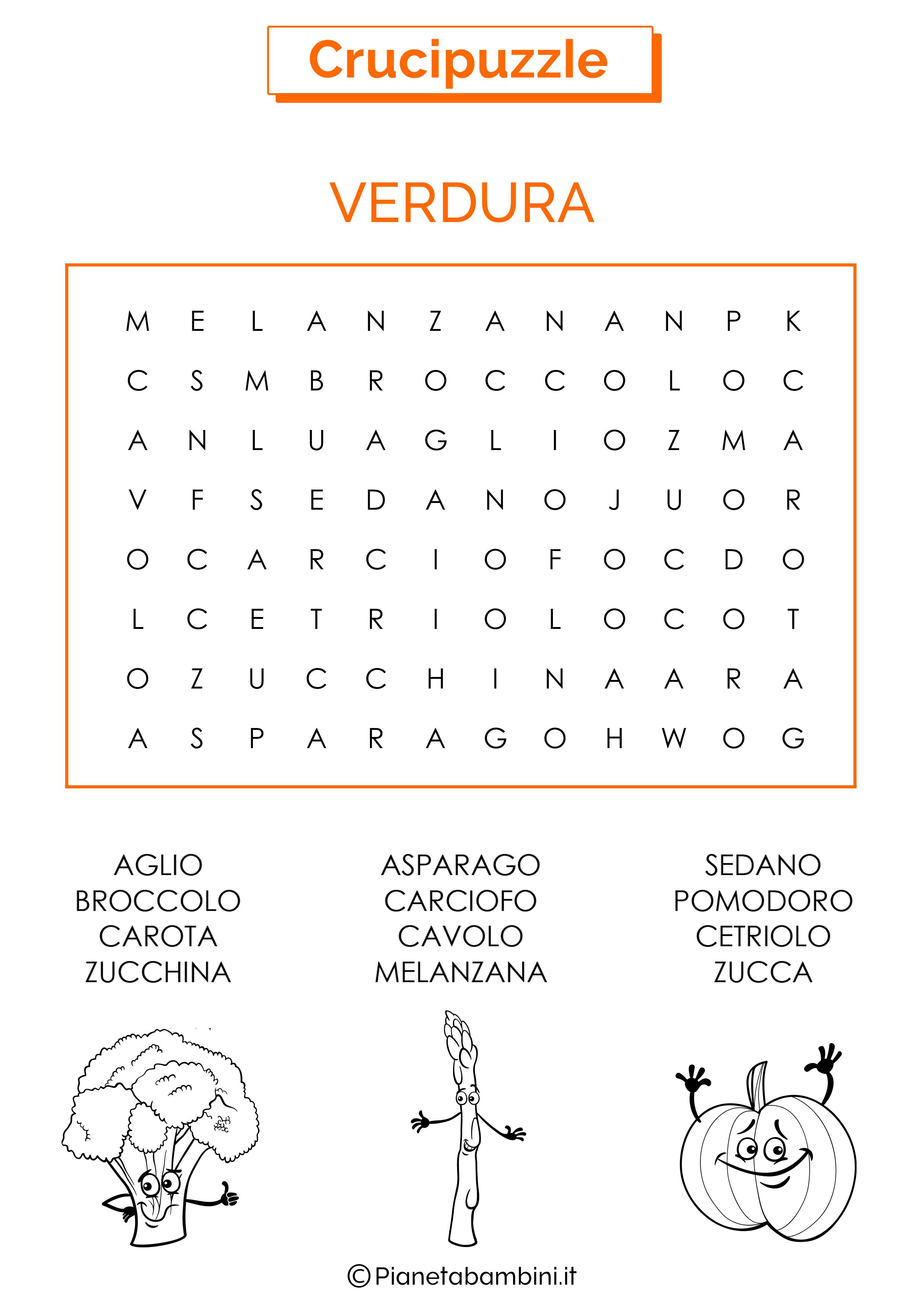 Crucipuzzle facile sulla verdura