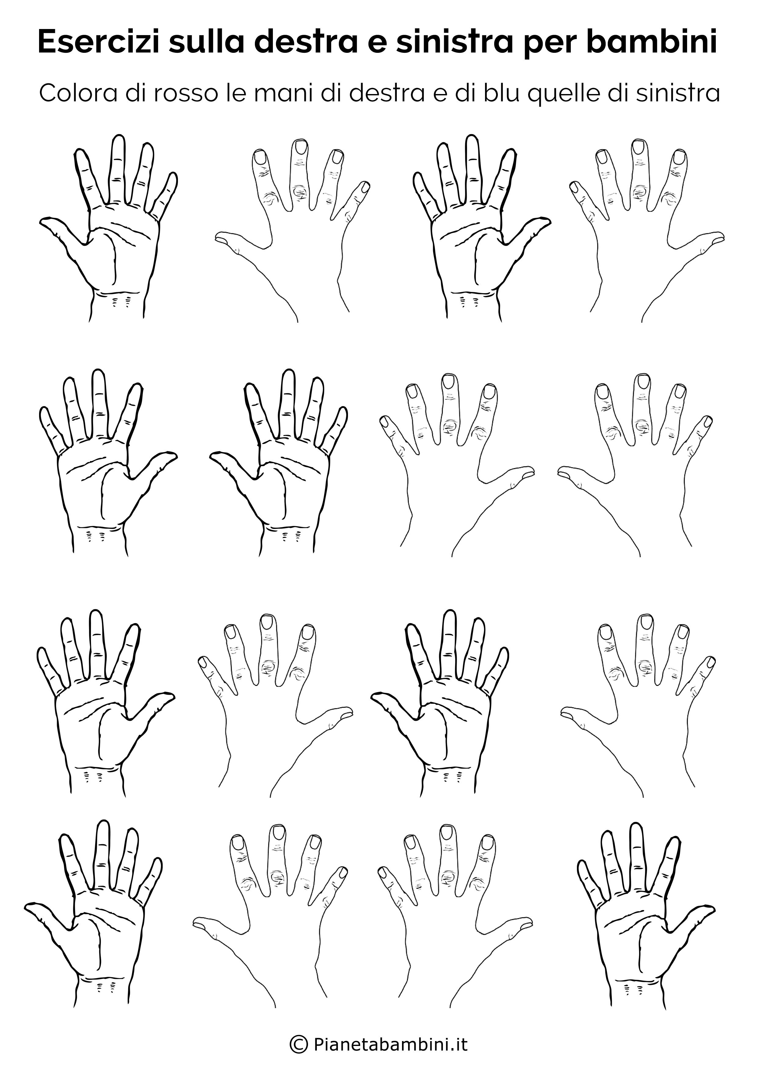 Molto Esercizi per Imparare Destra e Sinistra per Bambini  OV78