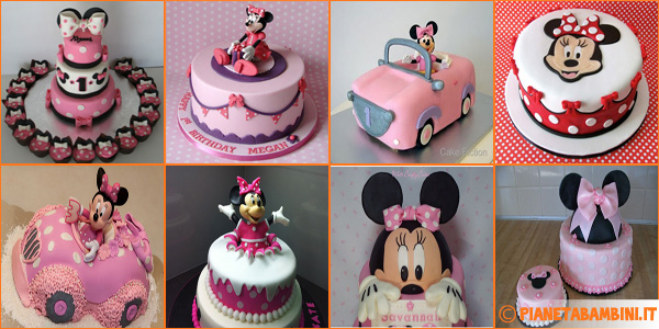 Torte di Minnie con decorazioni in pasta di zucchero