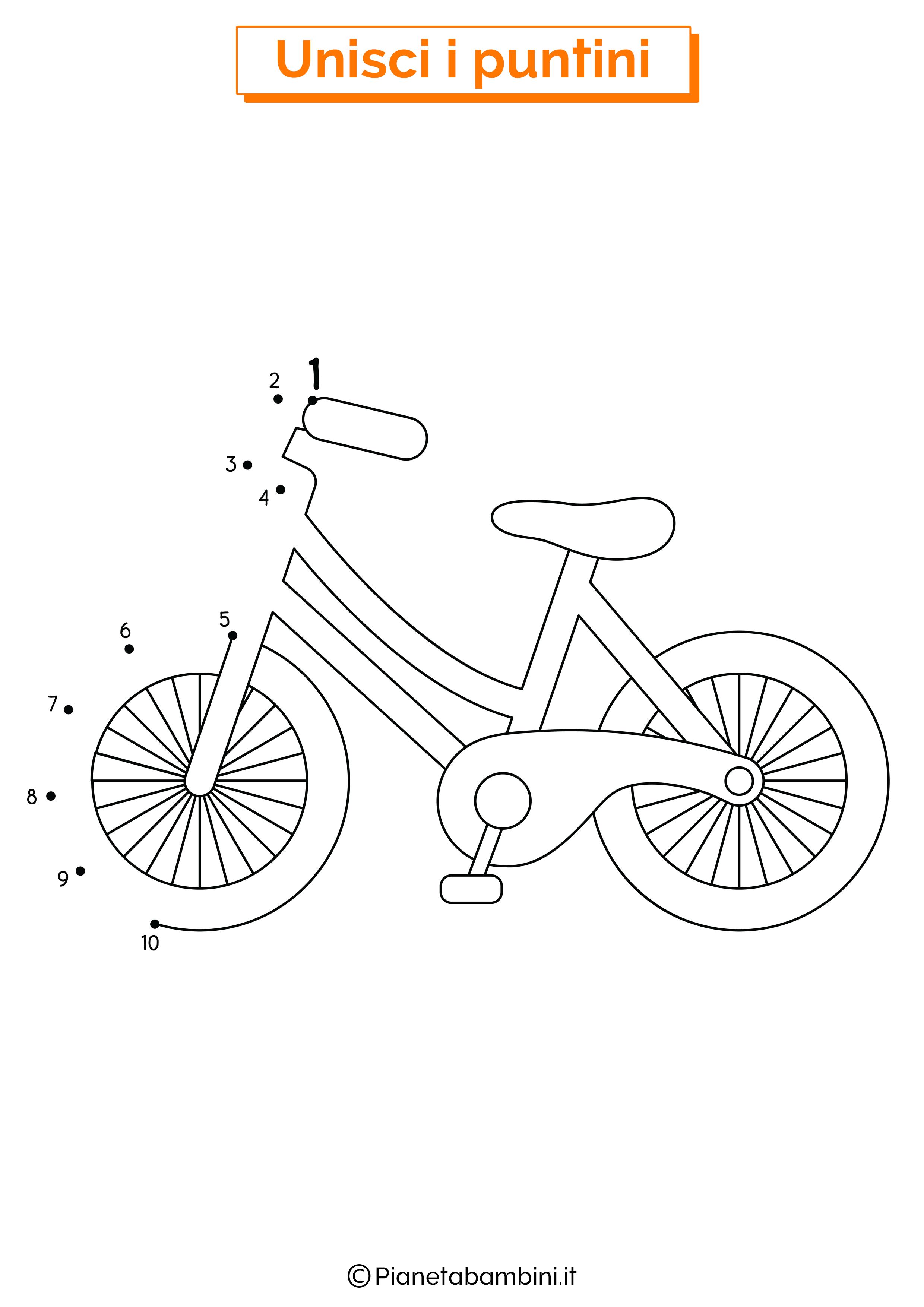 Disegno unisci i puntini da 1 a 10 bicicletta
