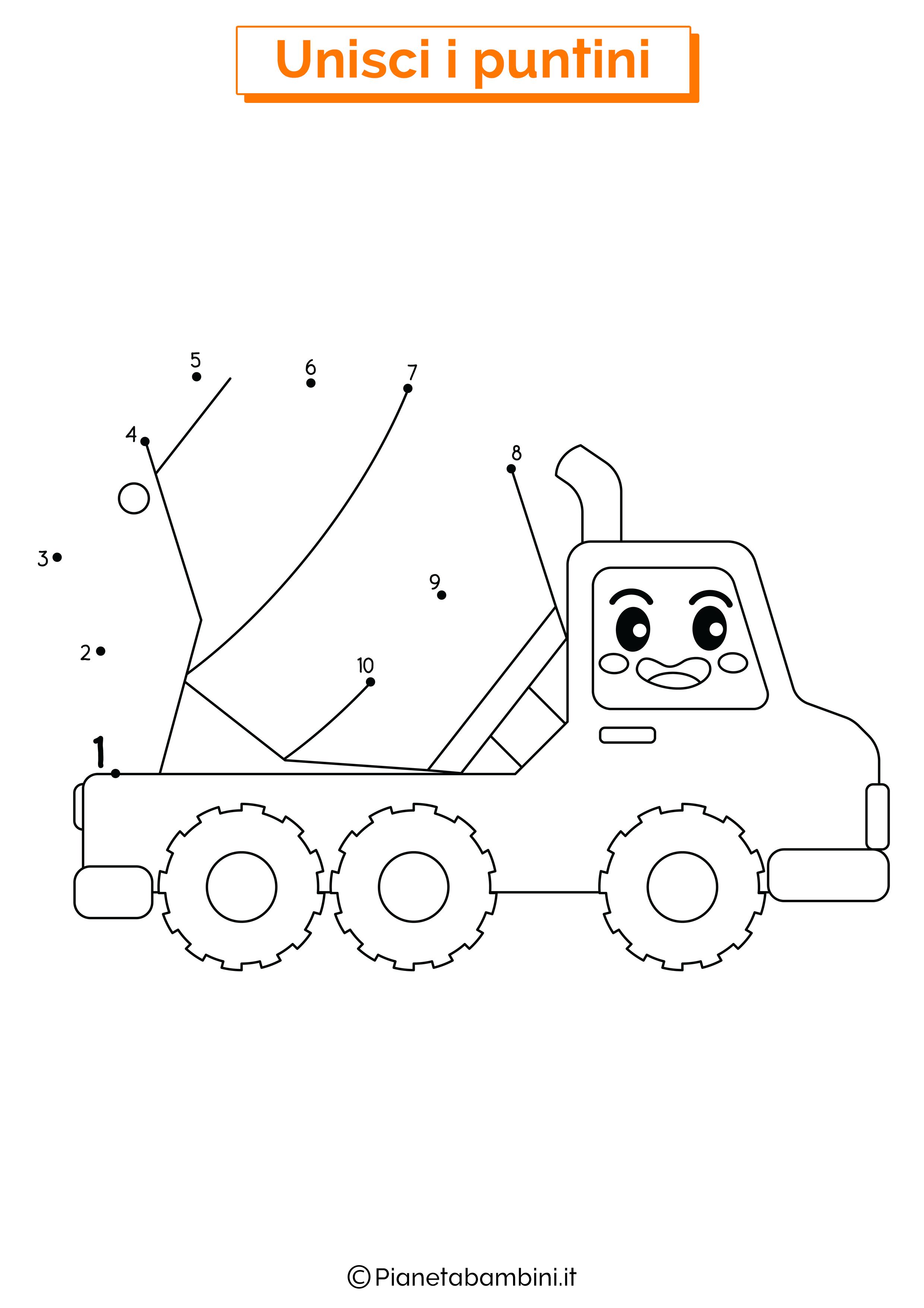 Disegno unisci i puntini da 1 a 10 camion betoniera