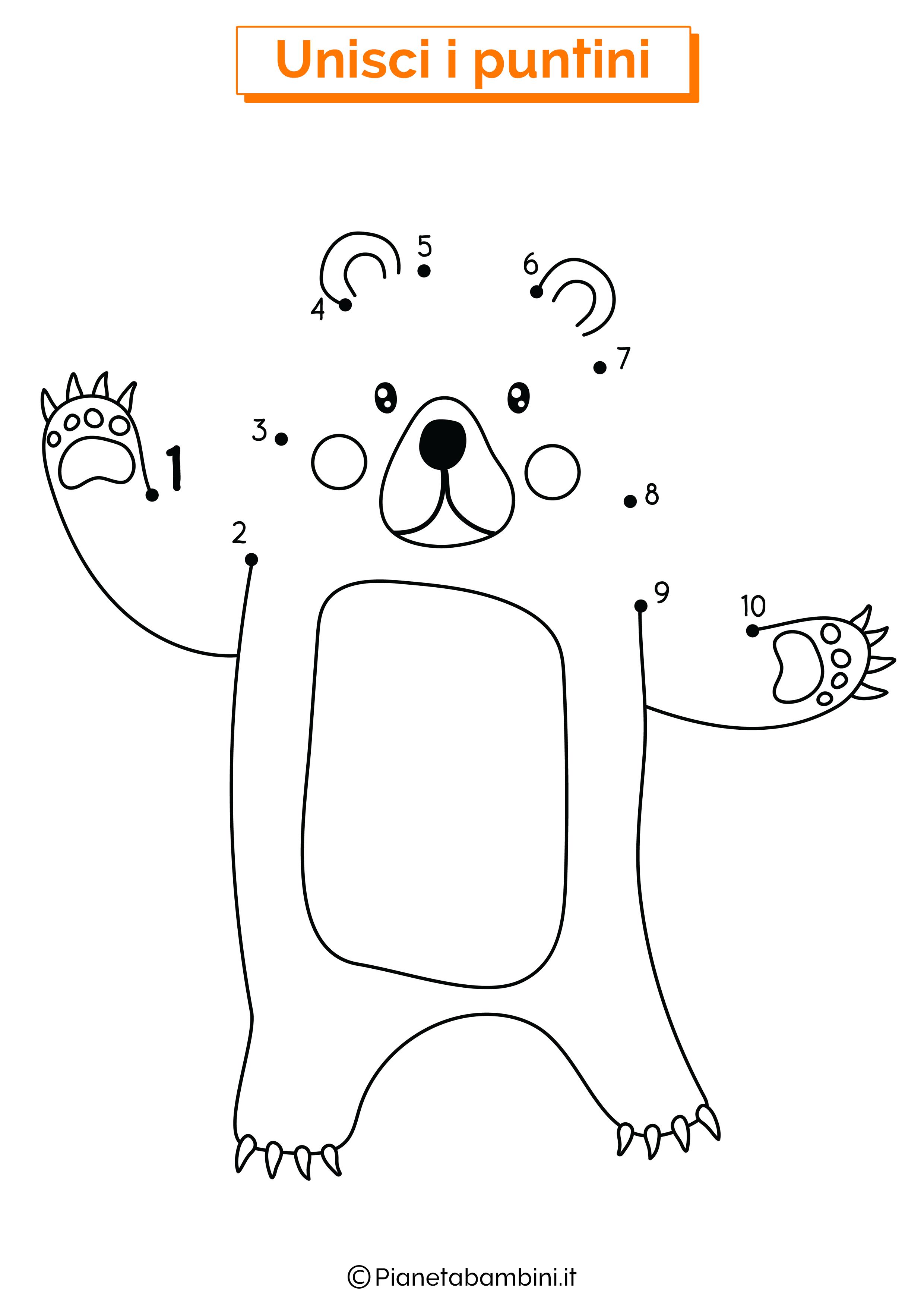 Disegno unisci i puntini da 1 a 10 orso