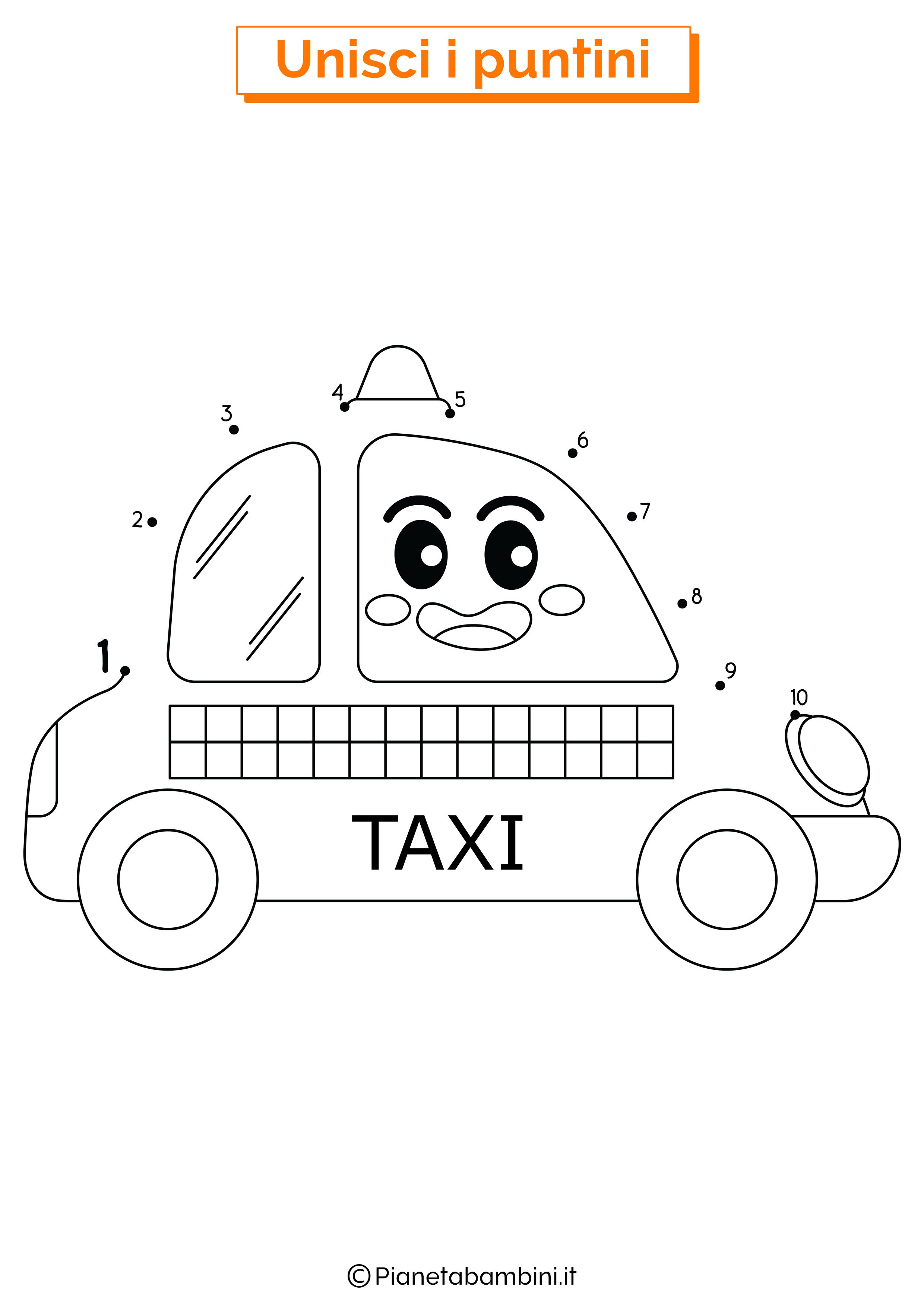 Disegno Unisci i puntini da 1 a 10 taxi