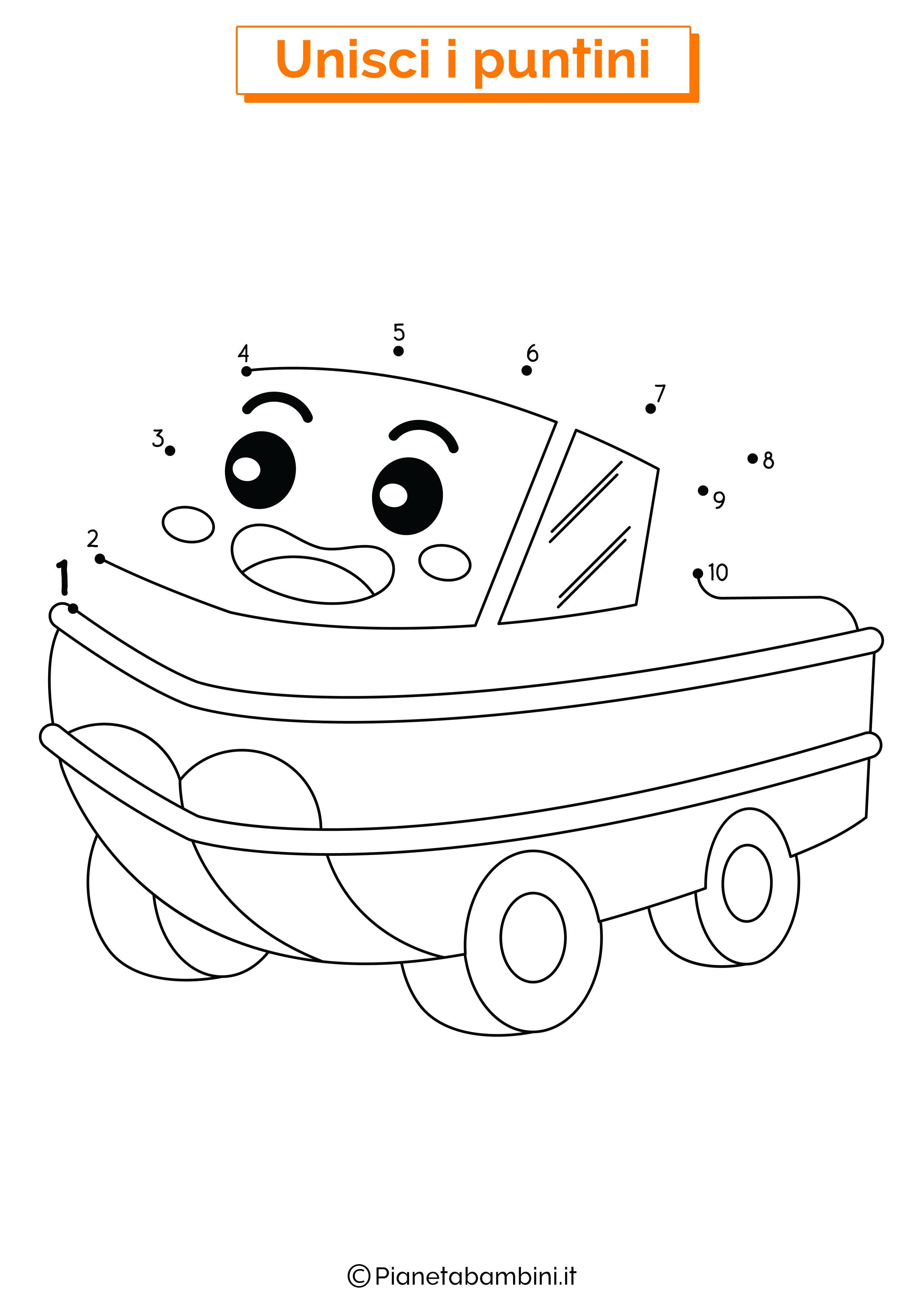 Disegno Unisci i puntini da 1 a 10 veicolo anfibio