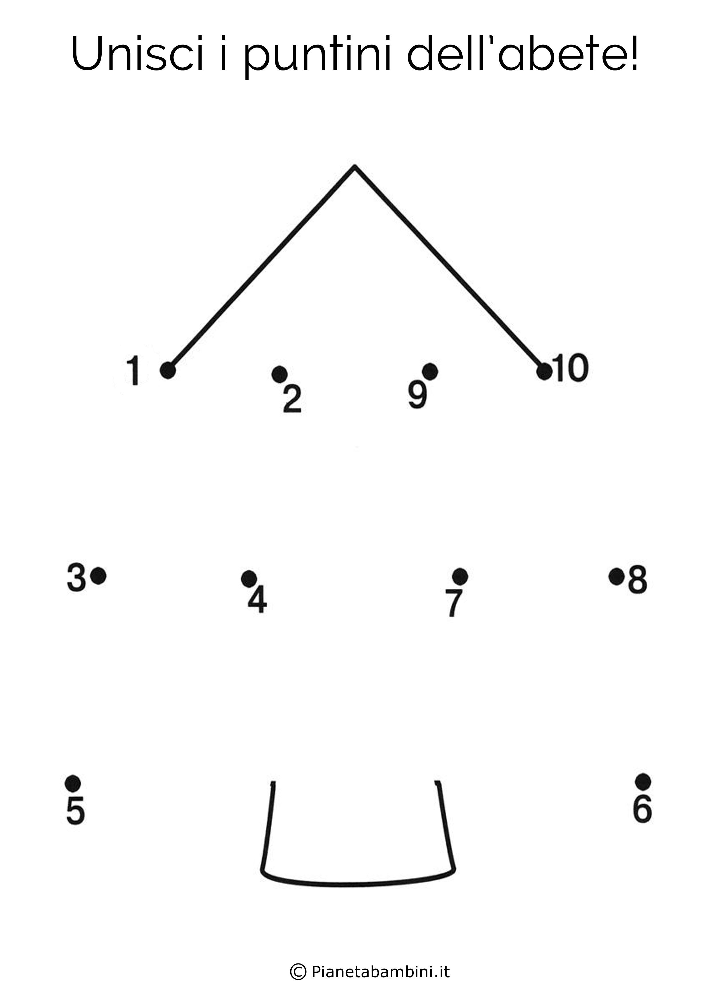 Disegno unisci i puntini abete
