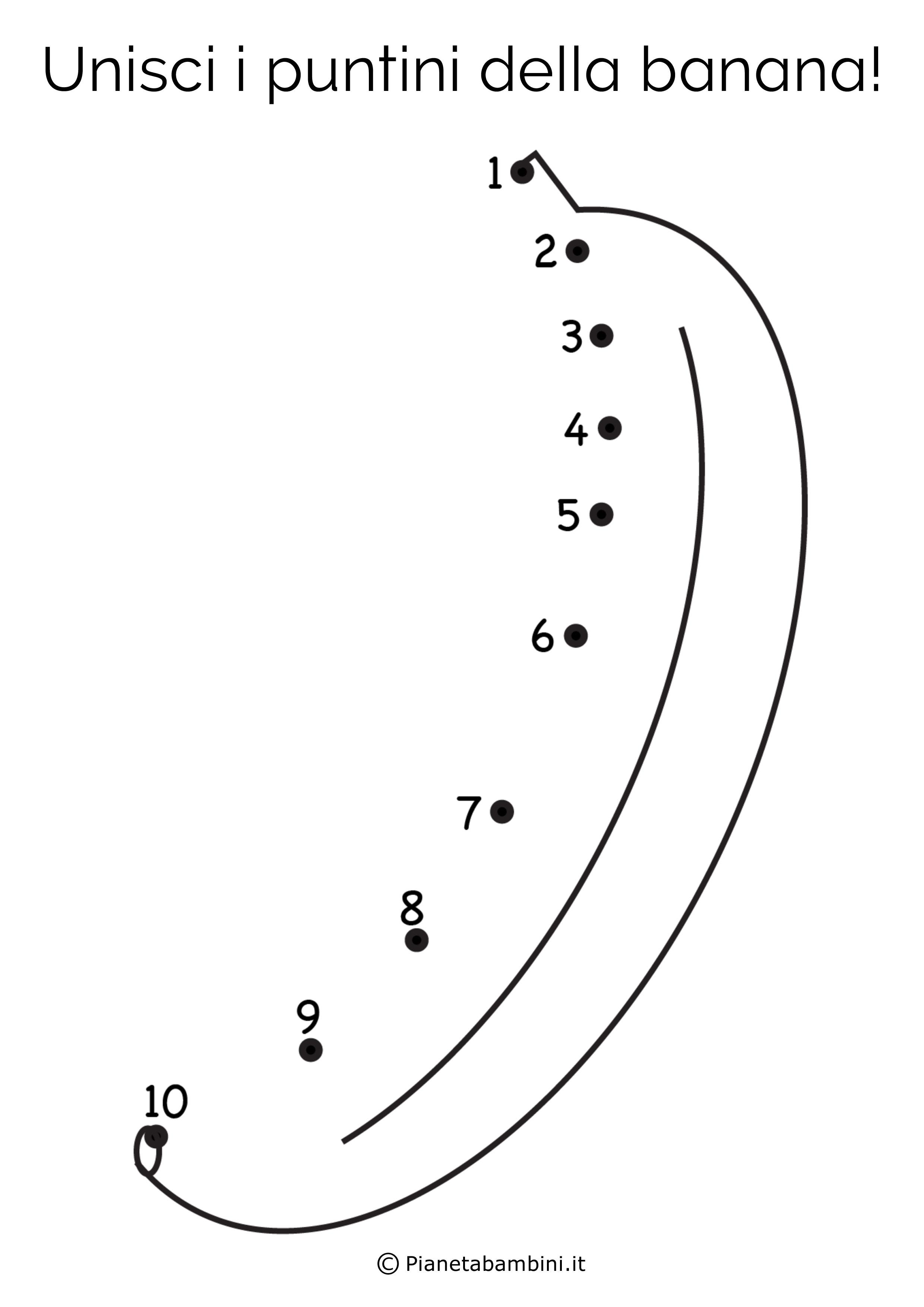 Disegno unisci i puntini banana