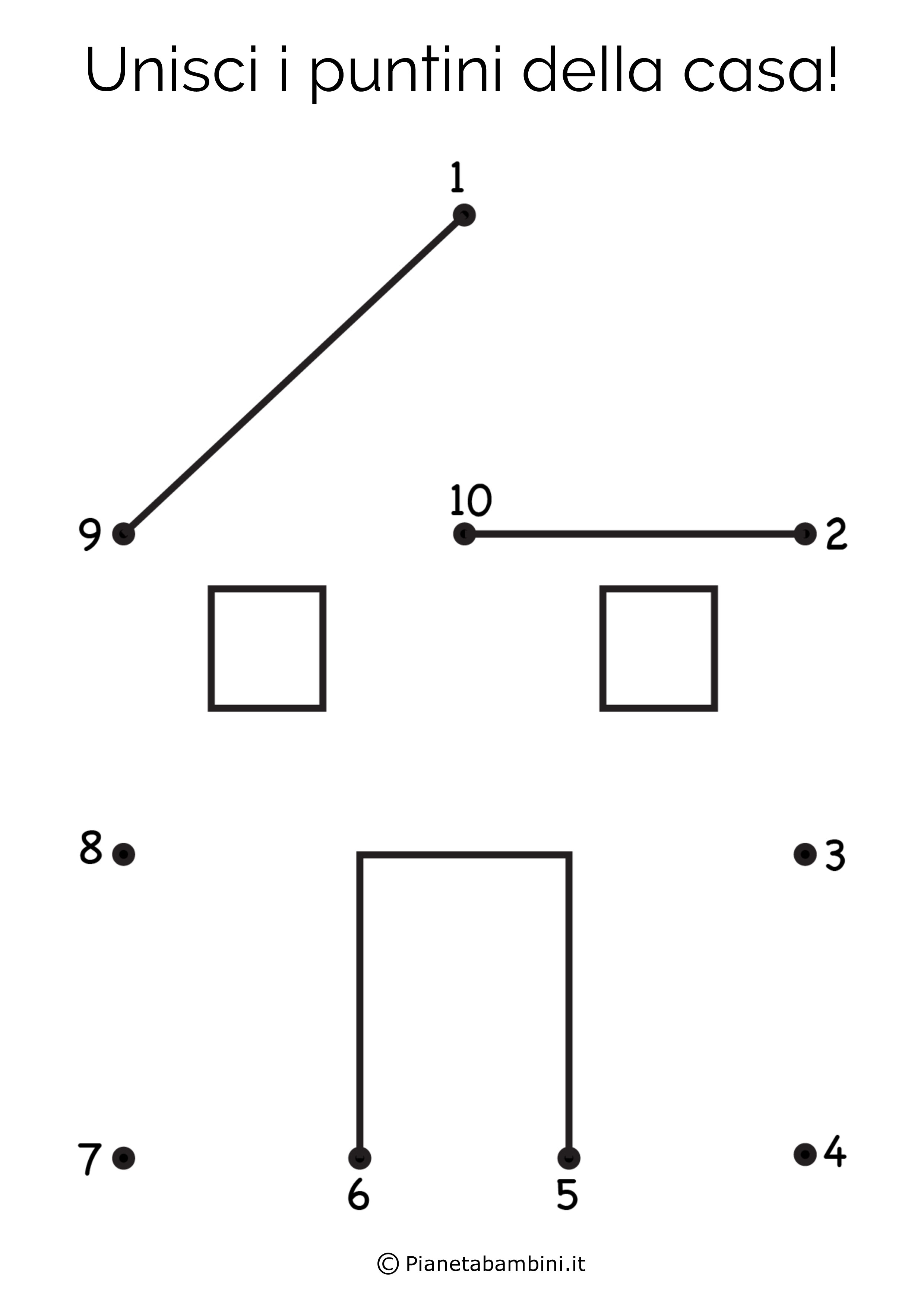 Disegno unisci i puntini casa